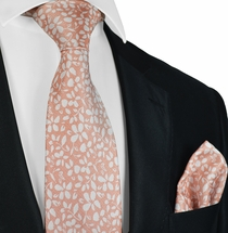 Coral Paul Malone Necktie and Pocket Square in Coral