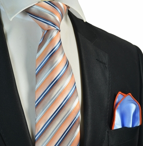 Coral Striped Tie and Blue Rolled Pocket Square Set