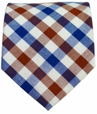 Cotton Tie by Paul Malone . Brown and Blue Plaids