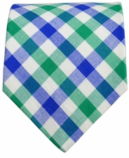 Cotton Tie by Paul Malone . Classic Green and Blue Plaids