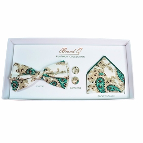 Cream and Emerald Paisley Bow Tie Gift Box