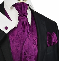 Crowne Jewel Paisley Tuxedo Vest and Tie Set by Paul Malone
