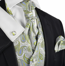 Daiquiry Green Paisley Tuxedo Vest Set by Paul Malone