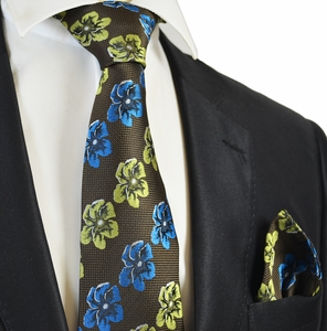 Dark Brown Floral Men's Tie and Pocket Square Set