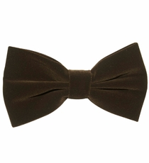 Dark Brown Velvet Bow Tie and Pocket Square