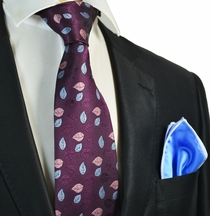 Dark Grape Tie with Blue Pocket Square Set