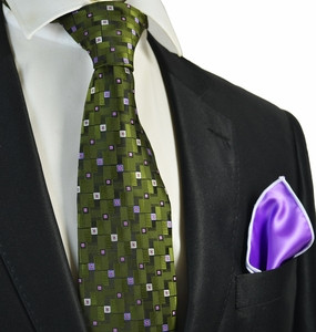Dark Green Tie with Rolled Pocket Square Set