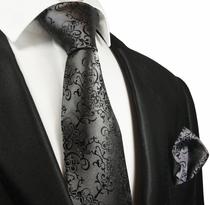Dark Grey Silk Tie and Pocket Square by Paul Malone