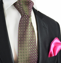 Dark Olive and Pink 7-fold Silk Tie Set by Paul Malone