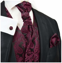Dark Wine Red Paisley Tuxedo Vest and Tie Set by Paul Malone