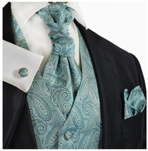 Deep Sea Blue Paisley Wedding Vest Set by Paul Malone