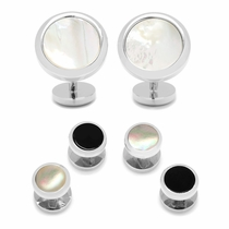 Double Sided Mother of Pearl Round Beveled Stud Set