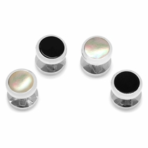 Double Sided Onyx and Mother of Pearl Round Beveled Studs