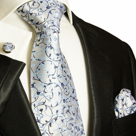 Elegant Blue Paul Malone Silk Necktie Set (907CH)