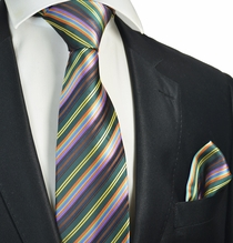 Emerald and Purple Striped Tie and Pocket Square Set
