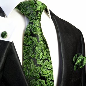 Emerald Green and Black Necktie Set by Paul Malone (567CH)
