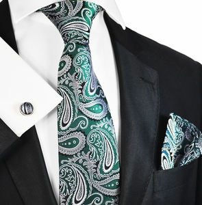 Emerald Green and Grey Silk Tie Set by Paul Malone