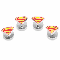Enamel Superman Shield Tuxedo Studs