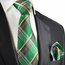 English Ivy Silk Tie and Pocket Square by Paul Malone