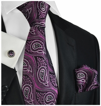 Festival Fuchsia Paisley Silk Tie Set by Paul Malone