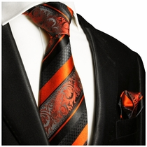 Fiery Orange and Black Silk Tie Set by Paul Malone