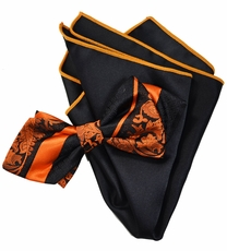 Fire Orange Silk Bow Tie with Rolled Bordered Pocket Square