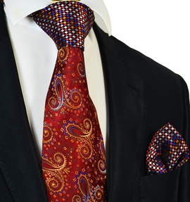 Fire Red and Gold Steven Land Contrast Knot Silk Tie and Pocket Square