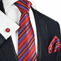 Fire Red Striped Silk Tie Set by Paul Malone