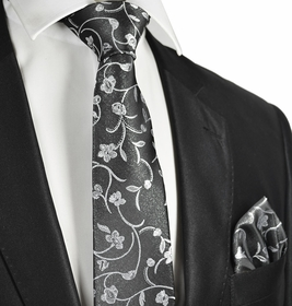 Floral Charcoal Wedding Tie and Pocket Square