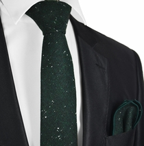 Forest Night Green Wool Tie Set by Paul Malone