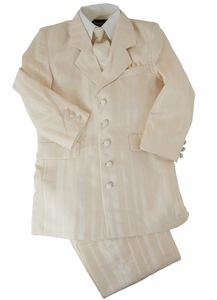 Formal Boys Suit . Cream Stripes with Vest, Shirt and Tie (KA220)