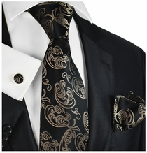 Formal Brown Silk Tie Set by Paul Malone
