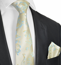 Formal Gold and Blue Tie and Pocket Square