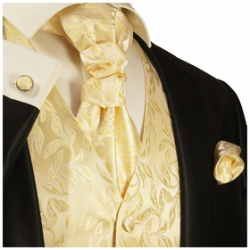 Formal Cream and Gold Tuxedo Vest Set by Paul Malone