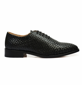 Full Leather Black Woven Oxfords by Paul Malone