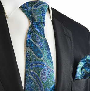 Galapagos Green and Blue Silk Tie Set by Paul Malone