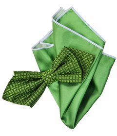 Garden Green Silk Bow Tie Set with Rolled Bordered Pocket Square