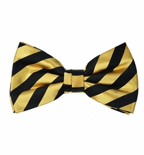 Gold and Black Silk Bow Tie with Pocket Square