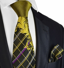 Gold and Black Steven Land Silk Tie and Pocket Square with Crystals