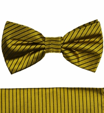 Gold and Brown Bow Tie and Pocket Square by Paul Malone (BT398H)