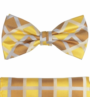 Paul Malone Silk Bow Tie Yellow and Brown