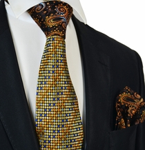 Gold and Brown Steven Land Contrast Knot Silk Tie and Pocket Square