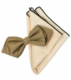 Gold and Champagne Silk Bow Tie Set with Rolled Bordered Pocket Square