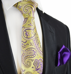 Gold and Indigo 7-fold Silk Tie and Pocket Square by Paul Malone