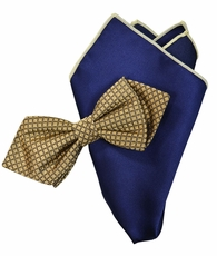 Gold and Navy Silk Bow Tie Set with Rolled Bordered Pocket Square