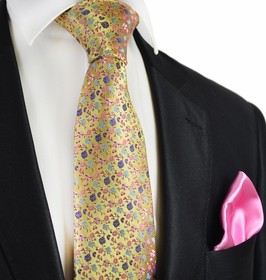 Gold and Pink 7-fold Silk Tie Set by Paul Malone
