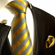 Gold and Silver Paul Malone Silk Tie Set