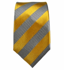 Gold and Silver Slim Silk Tie by Paul Malone