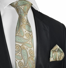 Gold and Turquoise Tie and Pocket Square Set