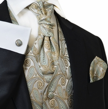 Gold and Turquoise Wedding Vest Set by Paul Malone